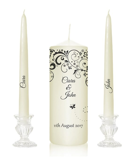 butterfly design candles simple unity candle design personalised wedding candles made to order hand made unity candles online special pressie cork