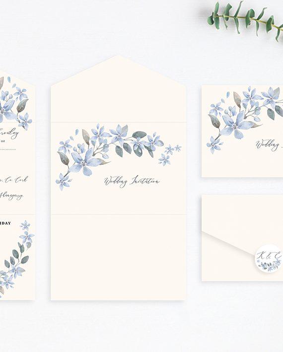 concertina style wedding invitations three folded wedding invitations folded wedding stationery custom folded wedding invitations powder blue flowers vintage lane