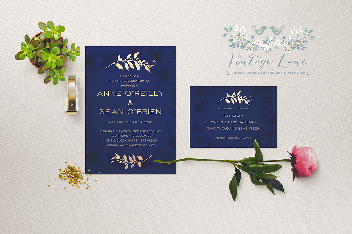 dark blue navy blue wedding invitations royal blue wedding invitations blue invitations for wedding cork ireland vintagelane designs kate kosareva designs cork ireland