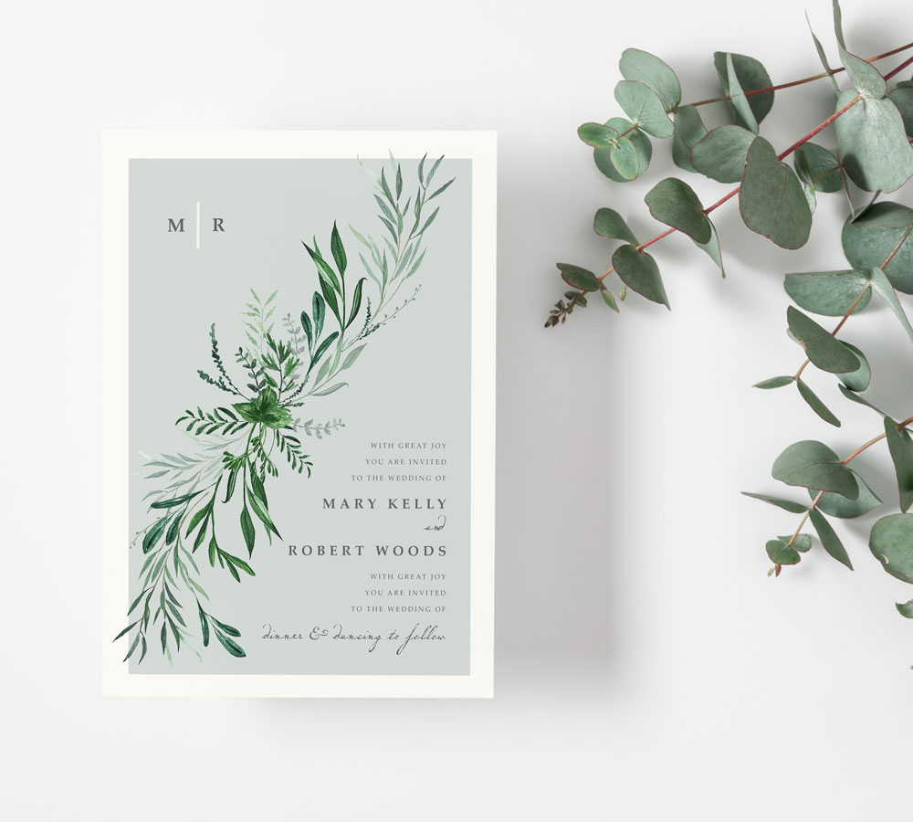 flat-green-leaves-eucalyptus-white-wedding-invitations-greenery-modern-invites-cork-ireland-vintage-lane