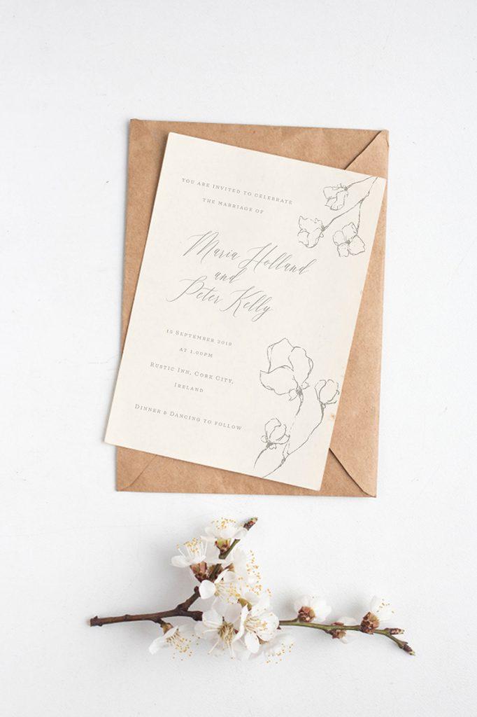 flower blossom wedding invitation chery blossom wedding stationery minimalistic wedding stationery ireland minimalist wedding cream colour wedding stationery cork vintage lane