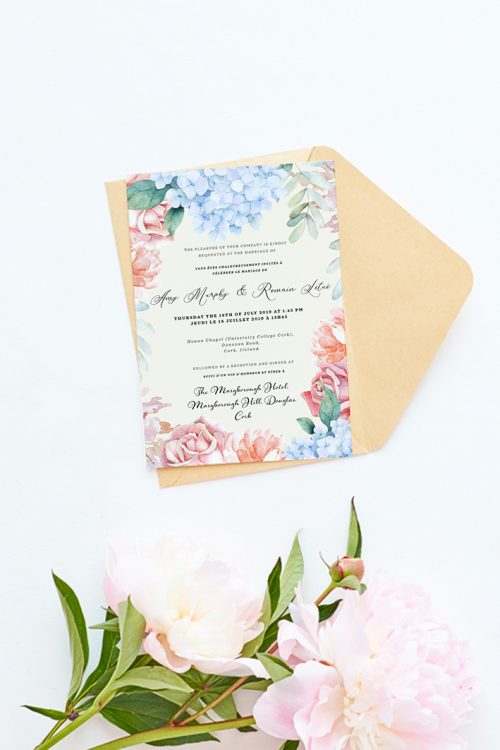 hydrangea flowers wedding invitations pastel pink flowers personalised wedding invitations rustic style flowers stationery cork ireland