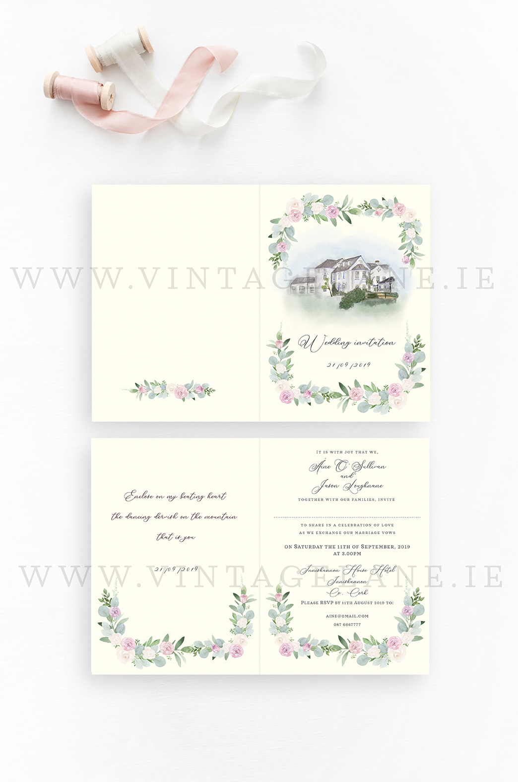 innishannon house hotel wedding invitation cork ireland