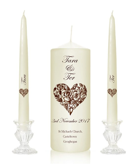 love heart wedding candles floral heart unity candles hand drawn design candles designer wedding candles nature candles cork ireland special pressie