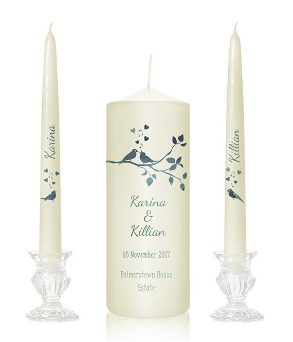 lovebird design lovebirddesign lovebird print candles blue birds wedding candles church candles with birds printed ceremony candles special pressie