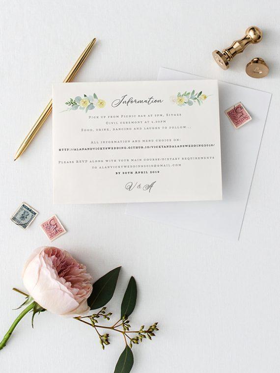 matching information cards printing wedding vintage lane cork rustic wedding vintage wedding modern wedding greenery botanical