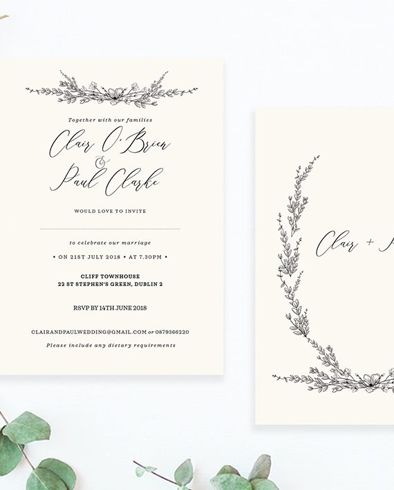 minimalist floral detail cream wedding invitations minimalist wedding design contemporary wedding stationery cork ireland vintage lane