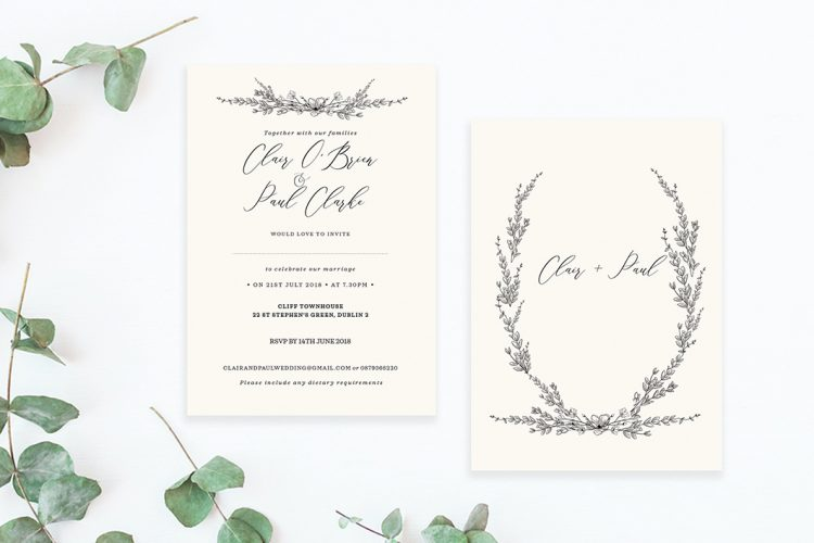 minimalist floral detail cream wedding invitations minimalist wedding design contemporary wedding stationery cork ireland vintage lane
