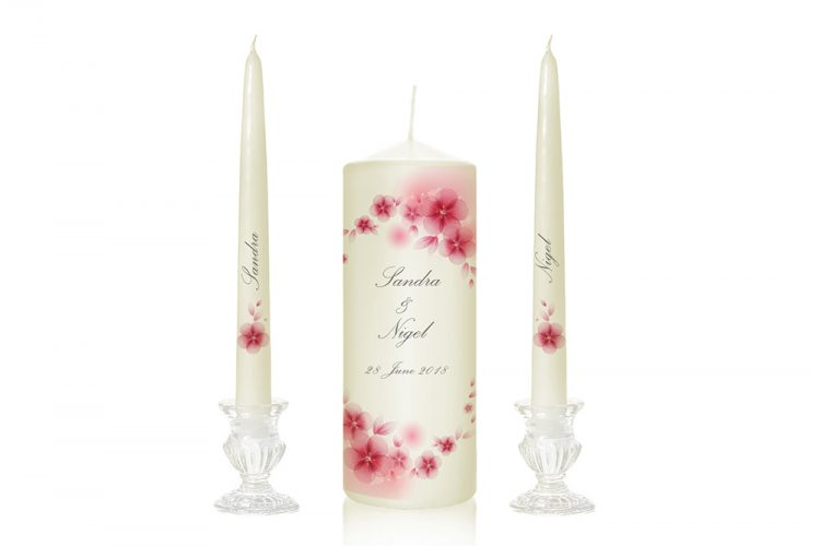 pink flower wedding candles floral motif unity candles candles with flower print pink pretty flowers unity candles floral special pressie