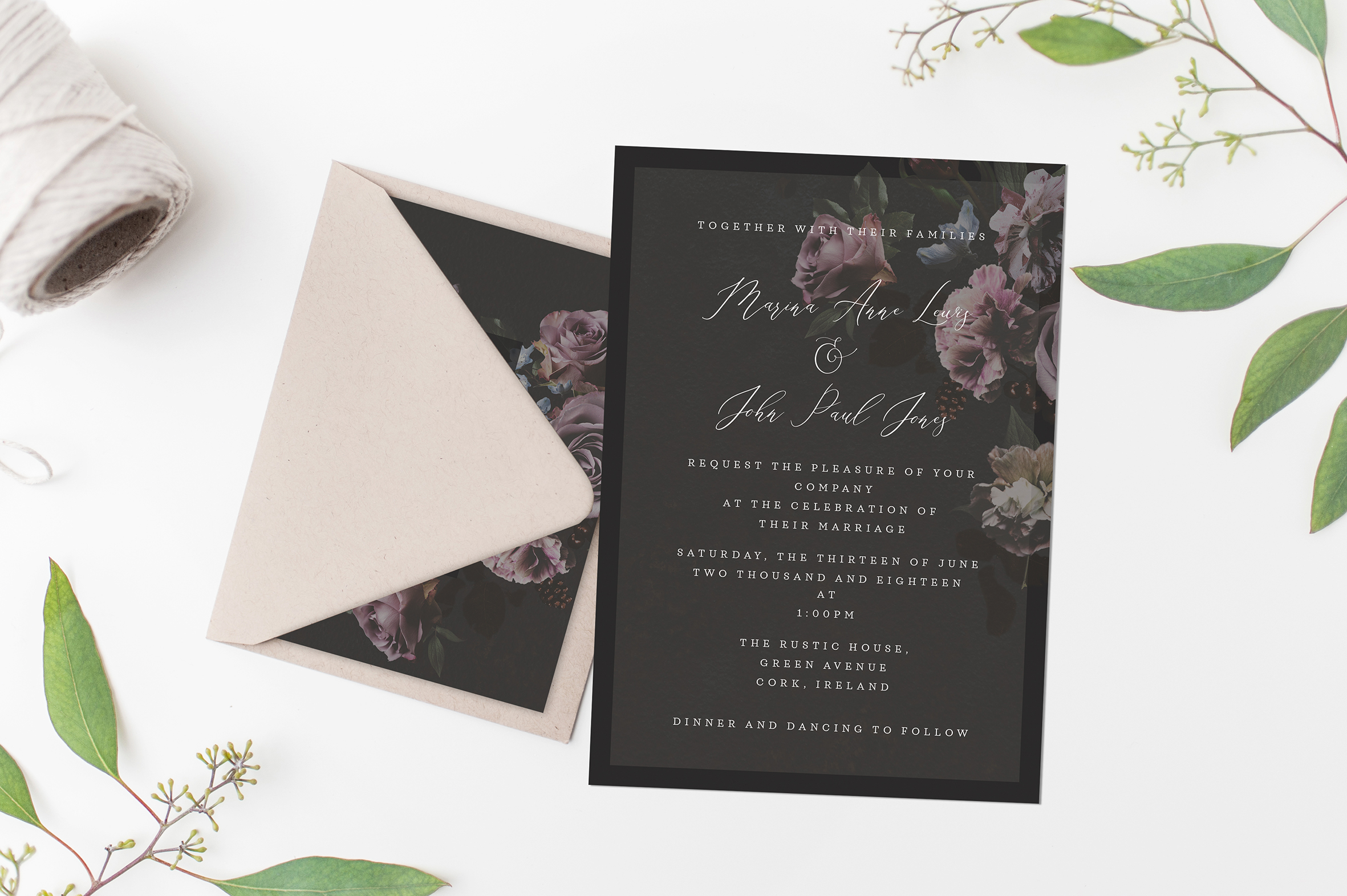 preview of the dark theme wedding stationery black beautiful wedding invitations floral style elegant contemporary invitations cork ireland