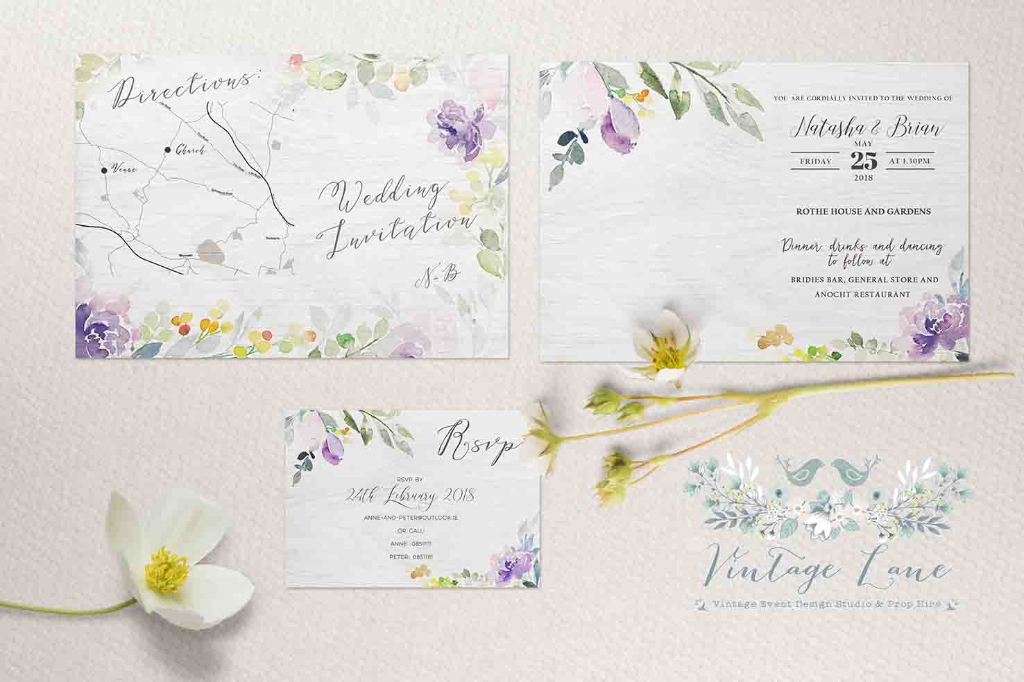 opening card with spring colour scheme spring flowers whimsical design wedding invitations cork irish bride