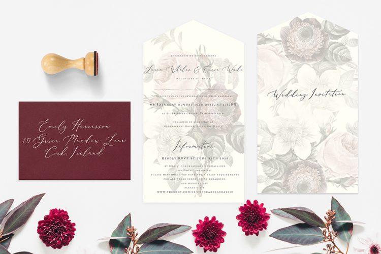 rustic style wedding invitations personalised vintage style wedding invitations online cork floral design order invites online vintage lane