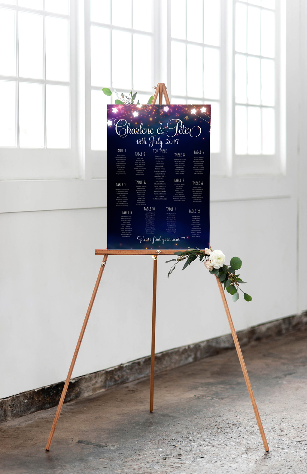 summer night wedding table plan design