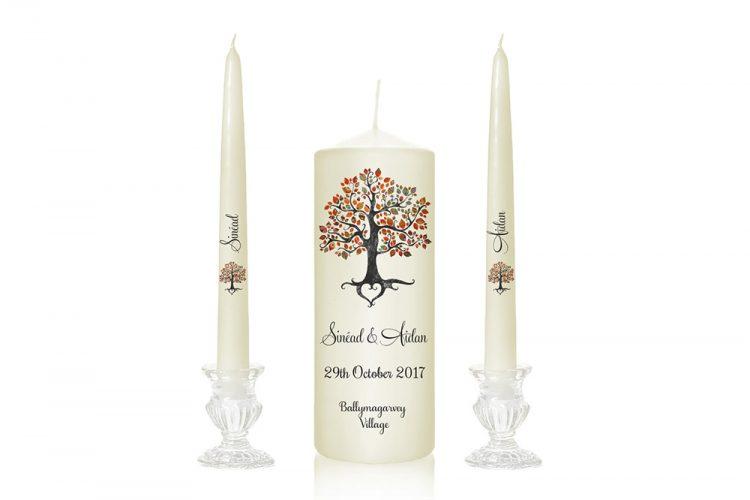 tree design wedding candles wedding candles with a tree unity candles with tree print tree love print autumn design candles special pressie cork