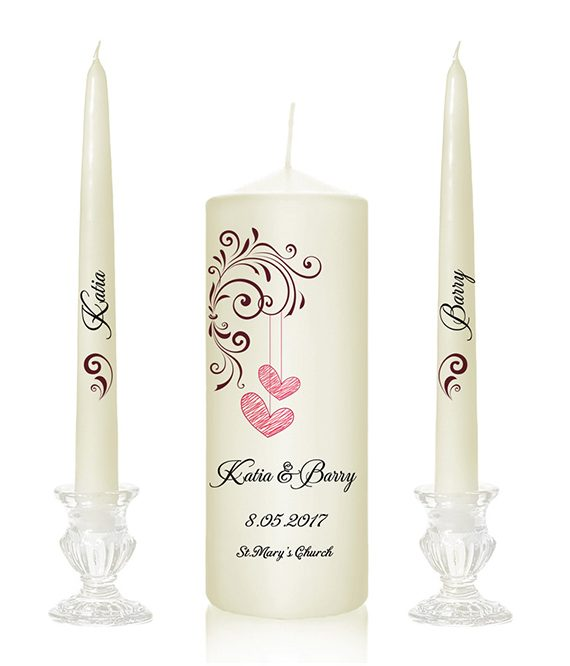 two heart design wedding candles with hearts personalised candles online candlezone weddingcandles online cork ireland