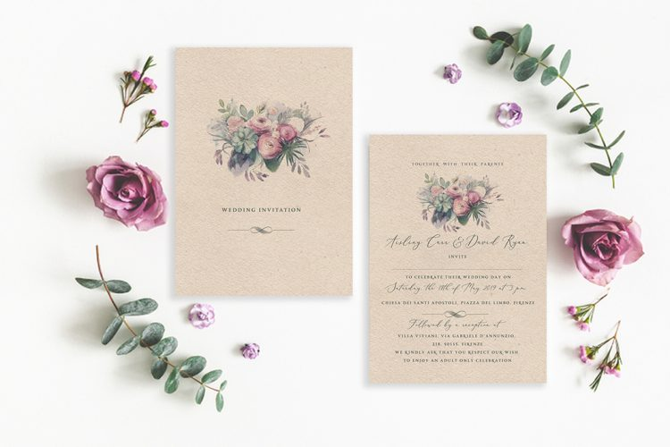 vintage flowers rustic flowers succulent wedding design green wedding details kraft wedding invitations brown card wedding invitations