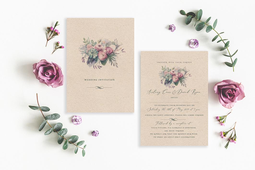 vintage flowers rustic flowers succulent wedding design green wedding details kraft wedding invitations brown card wedding invitations