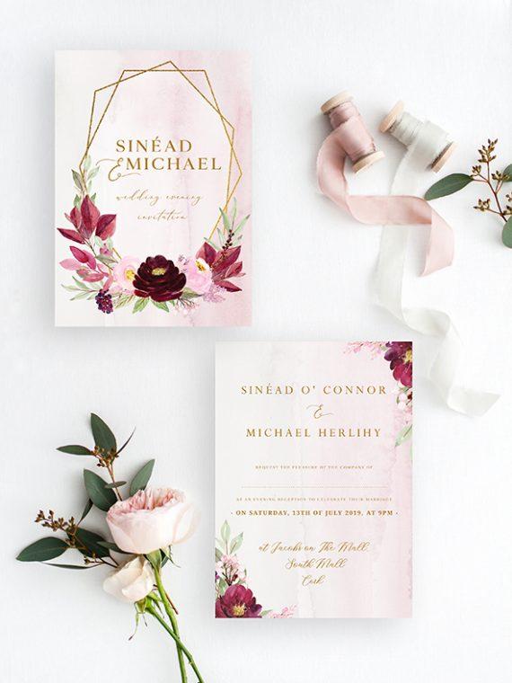 wedding day invitations cork ireland bespoke wedding stationery maroon wine colour wedding flowers