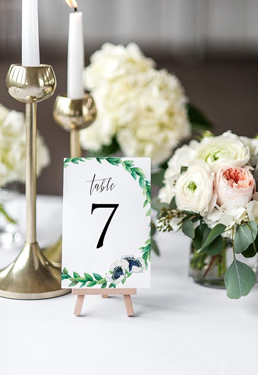 printed wedding table numbers