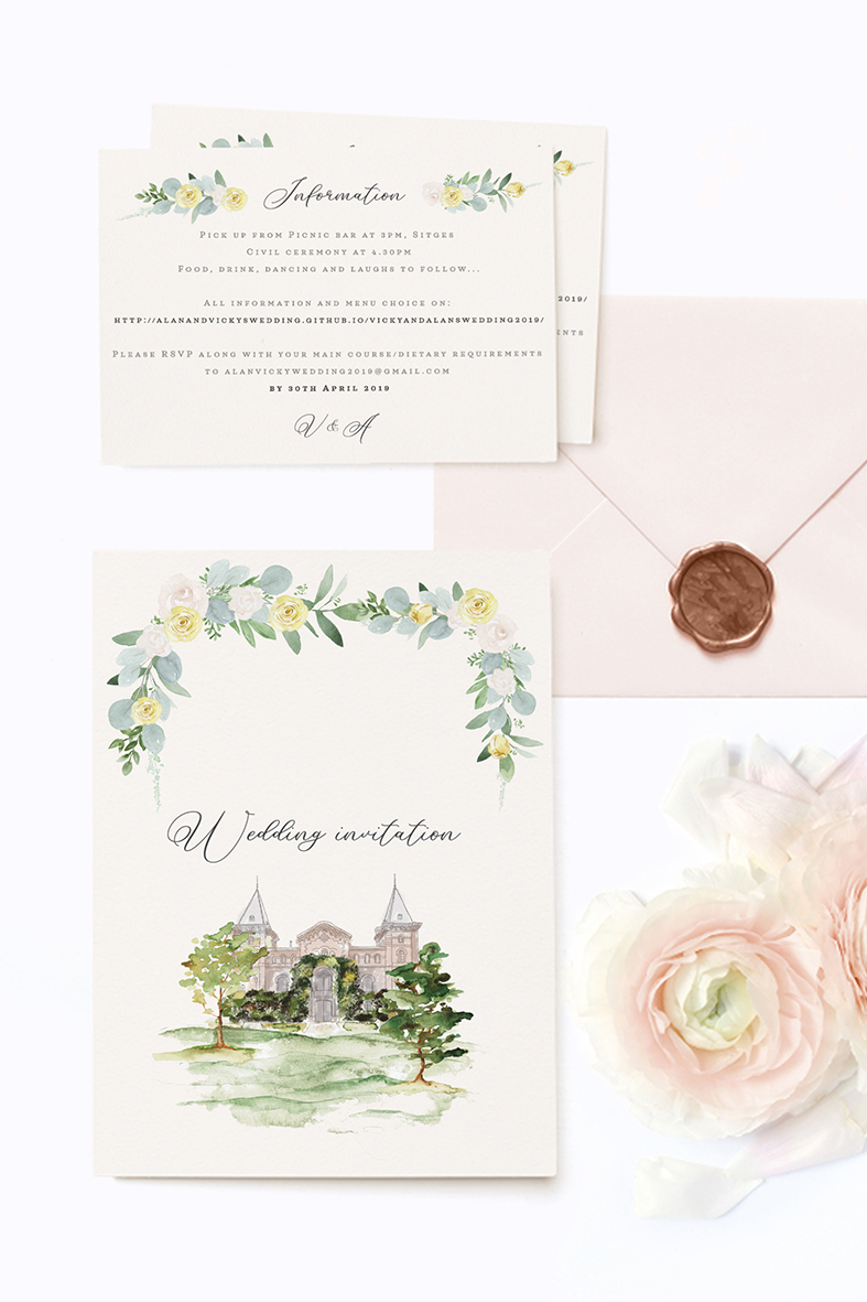 wedding venue sketch wedding abroad wedding in spain wedding invitations with illustrated venue
