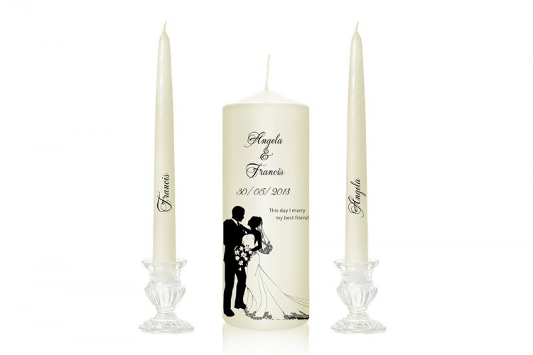 white dress bride in dress bride and groom dancing wedding candle design personalised candles with bride and groom cork ireland