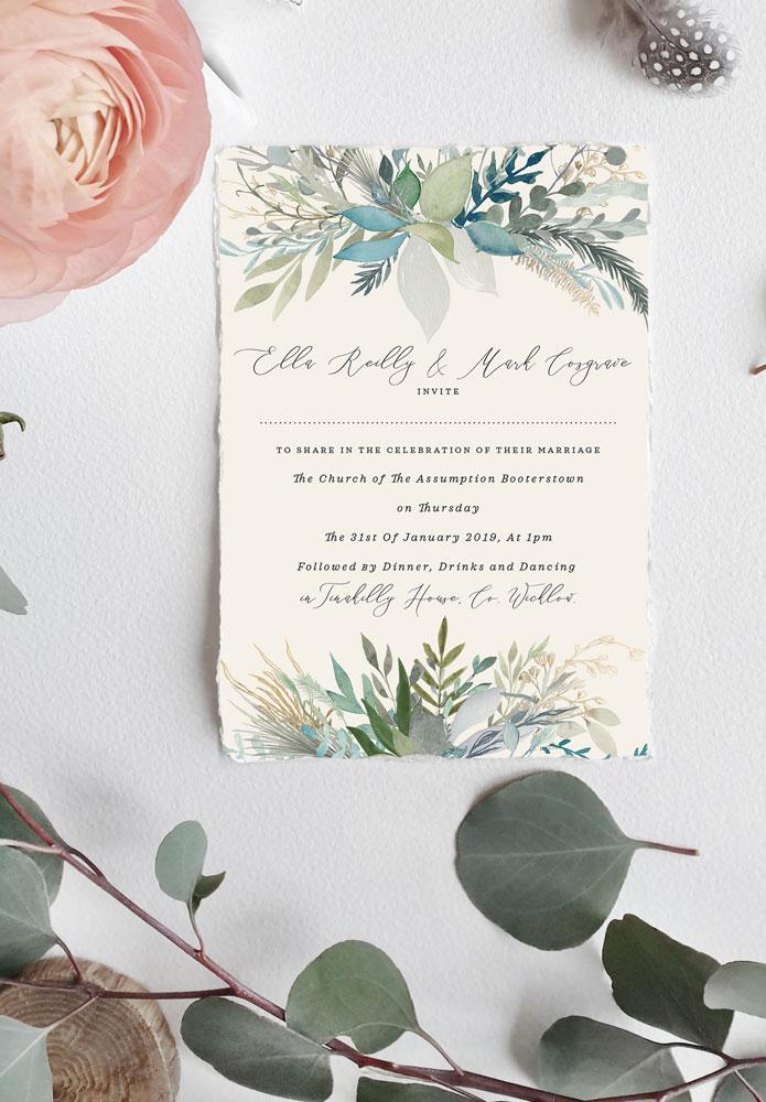 white-wedding-invitation-silver-eucalyptus-leaves-branch-wedding-invitations-cork-ireland