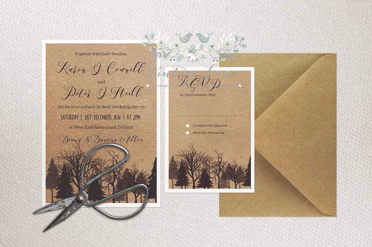 winter style wedding invitations cork dublin killarney ireland vintage lane studio cork