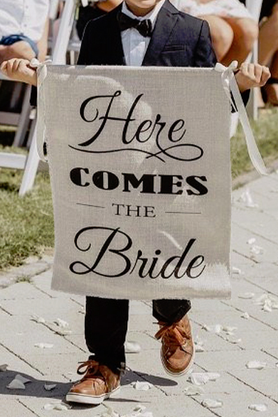 here comes the bride hessian sign wedding chair signs wedding fabric signs wedding burlap signs church signs vintage lane