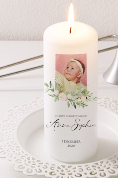 Christening Day Candle Cork Baptism Candle Online Spiritual Candles Online Church candle for a baby boy dove symbol candle for church Personalised baptism Candle Godparents gift