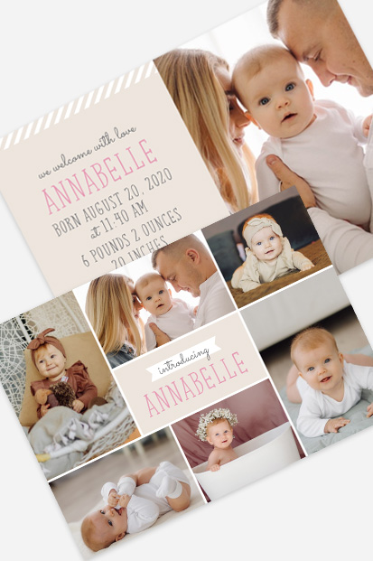 Baby girl birth announcement Modern baby cards stationery contemporary occasion stationery cork ireland