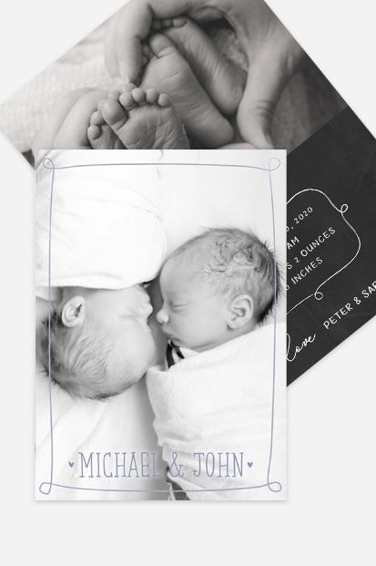Baby twin boy birth announcement Modern baby cards stationery contemporary occasion stationery cork ireland