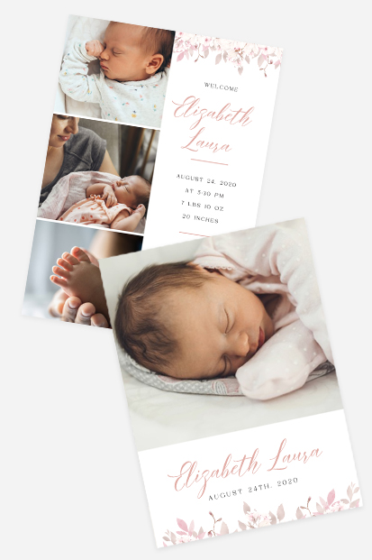 pink flowers birth announcement card stationery dusk pink cards occasion stationery cork ireland cards to send to relatives abroad
