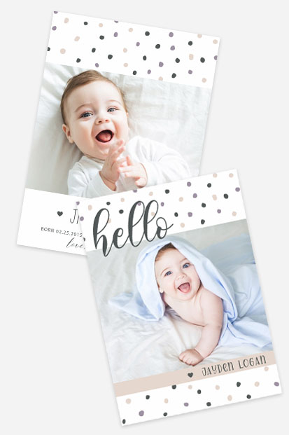 polka dot baby birth announcement card stationery pastel colour cards occasion stationery cork ireland