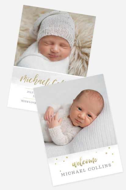 white birth announcement with golden stars card stationery dusk pink cards occasion stationery cork ireland