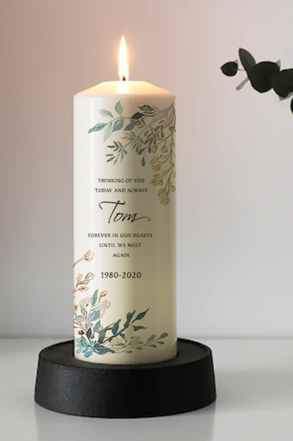 personalised greenery memorial candle wedding remembrance candle cork Ireland church memorial candle ceremony candle ireland