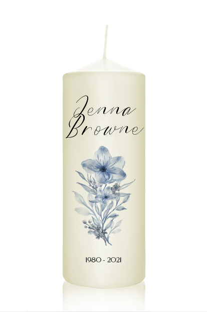 personalised blue flower memorial candle wedding remembrance candle cork Ireland church memorial candle ceremony candle ireland altar candles church ivory candles for funeral burgundy flowers