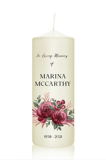 personalised floral memorial candle wedding remembrance candle cork Ireland church memorial candle ceremony candle ireland altar candles church ivory candles for funeral burgundy flowers