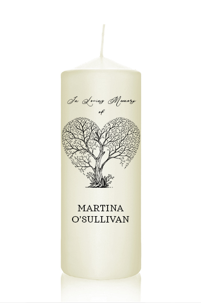 personalised greenery memorial candle wedding remembrance candle cork Ireland church memorial candle ceremony candle ireland altar candles church ivory candles for funeral